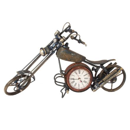 Metal Art Vintage Chopper Motorbike Quartz Mantel Clock XL